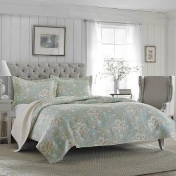 ローラアシュレイ クイーン Brompton Serene ベッドキルトセット マルチカバー キルト 寝具 ベッド