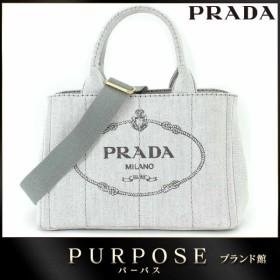 プラダ PRADA カナパ ミニ 2WAY トート ショルダー バッグ キャンバス ビアンコ ライトグレー 1BG439