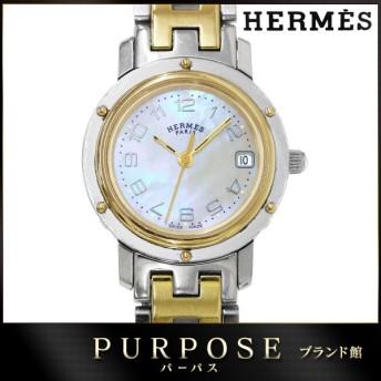 エルメス HERMES クリッパーナクレ CL4 220 レディース 腕時計 コンビ ホワイトシェル 文字盤 デイト クォーツ ウォッチ