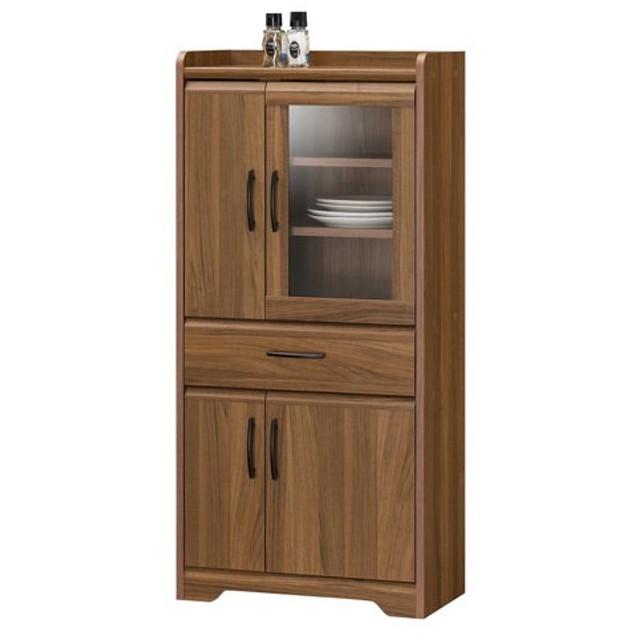 ★送料無料★ ミニ食器棚 高さ118cm キッチン収納 ダイニング収納 カップボード 食器収納 サイドボード 収納棚 飾り棚 木目 TRL-1255DGH