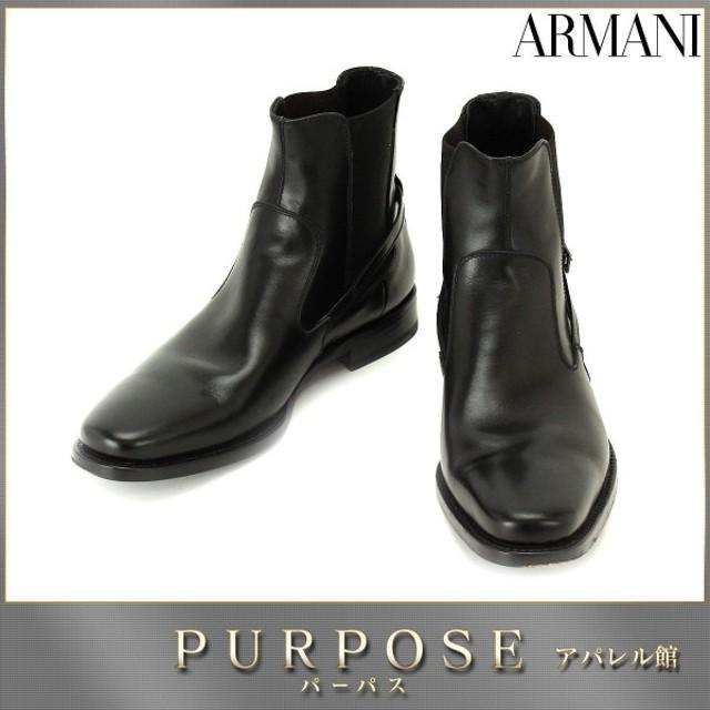 ジョルジオ アルマーニ GIORGIO ARMANI レザー サイドゴア ショートブーツ ブラック #40 25.0 メンズ