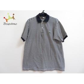 ラコステ Lacoste 半袖ポロシャツ サイズ4 XL メンズ ネイビー×白 ボーダー  値下げ 20190916