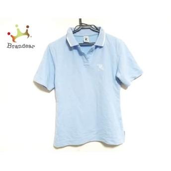 クレージュ COURREGES 半袖ポロシャツ サイズ40 M レディース ライトブルー×白 スペシャル特価 20190502