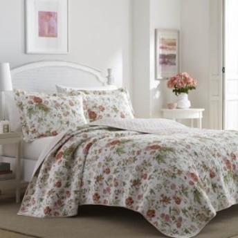 ローラアシュレイ クイーン リバーシブル ベッドキルト 花柄 マルチカバー 寝具 ベッドカバー