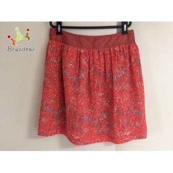 ラ トータリテ スカート サイズ36 S レディース 美品 レッド×ダークグレー×白 花柄 スペシャル特価 20190405
