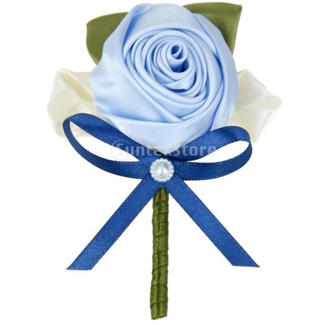 ノーブランド品 結婚式 ウェディング パーティー 花嫁 新郎用 フラワーブローチ ブルー