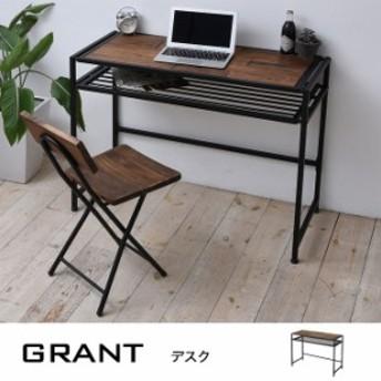 木製デスク 「グラント」 幅100cm パイン材天然木 棚付き 北欧 パソコンデスク 勉強机 作業テーブル PCデスク 学習机
