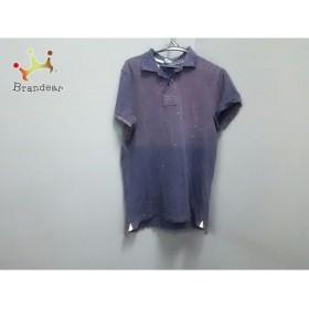ポロラルフローレン 半袖ポロシャツ サイズM メンズ パープル ダメージ加工/ペイント加工/刺繍   スペシャル特価 20181214