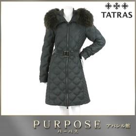 タトラス TATRAS ダウン ロング コート 中綿 ラクーン ファー グレー サイズ 03 レディース