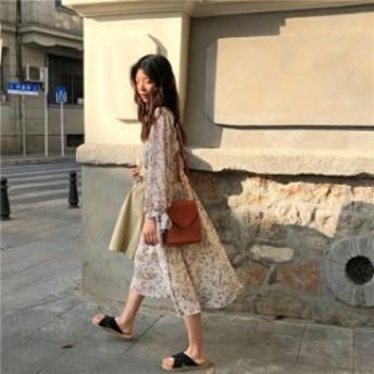 ワンピース ミモレ丈 花柄 カシュクール シフォン 大人かわいい 長袖 きれいめ デート