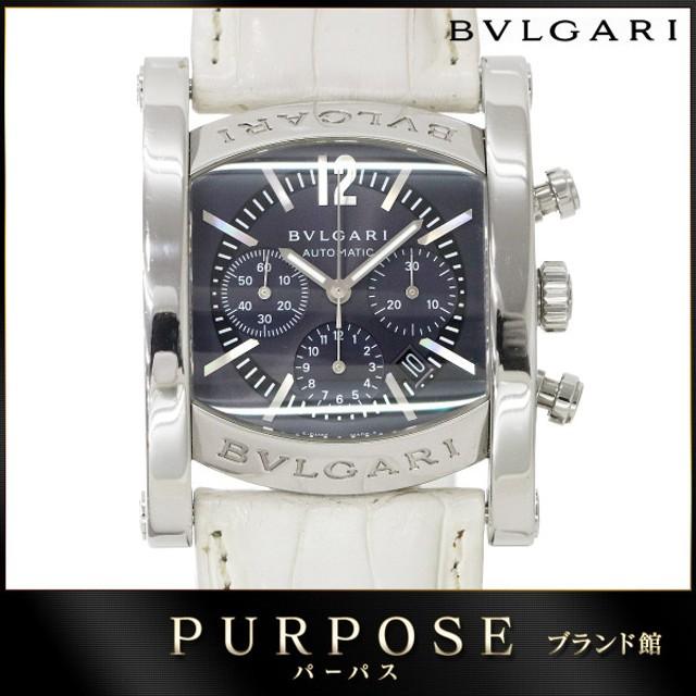 cab0295fbbcb ブルガリ BVLGARI アショーマ クロノグラフ AA 44 SCH メンズ 腕時計 デイト ネイビー 文字盤 オートマ 自動