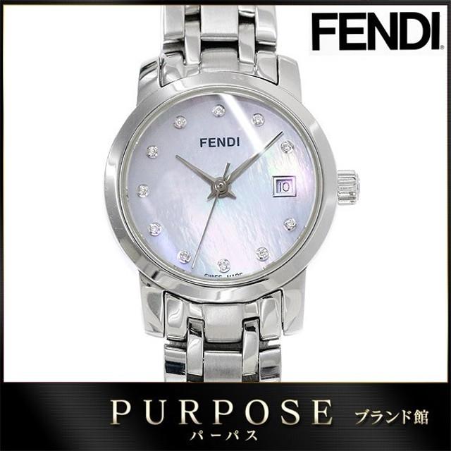 2a3c28247a フェンディ FENDI 2100L クロシコ orologi レディース 腕時計 11P ダイヤ ホワイトシェル 文字盤 デイト クォーツ ウォッチ