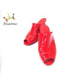 セルジオロッシ sergio rossi ミュール 37 1/2 レディース レッド ウェッジソール/オープントゥ   スペシャル特価 20180730
