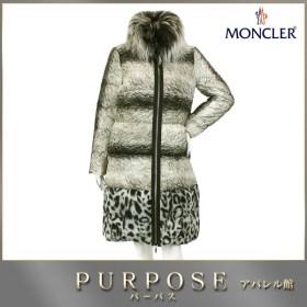 モンクレール MONCLER ダウン コート ガムルージュ レオパード ホワイト ブラック ファー サイズ 0 レディース