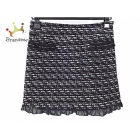 アプワイザーリッシェ スカート サイズ1 S レディース 美品 黒×白 ツイード/フリル/ラメ                 スペシャル特価 20191029