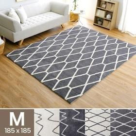 ラグ M おしゃれ 185×185cm マット デザイン パイル パイル 絨毯 じゅうたん オールシーズン 長方形 ワンルーム あったか ロウヤ LOWYA