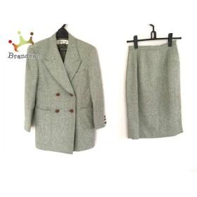 ユキサブロウワタナベ スカートスーツ レディース 美品 グリーン×アイボリー 肩パッド             スペシャル特価 20190527
