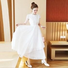 シフォンドレス ロングドレス ホワイト 刺繍 花柄 レース