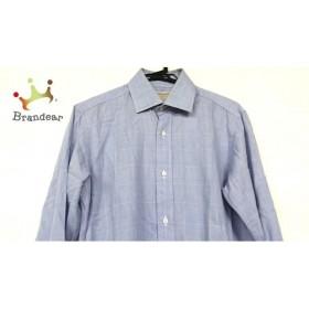 フランコプリンツィバァリー 長袖シャツ サイズ39 メンズ ライトブルー×白 チェック柄         スペシャル特価 20190628