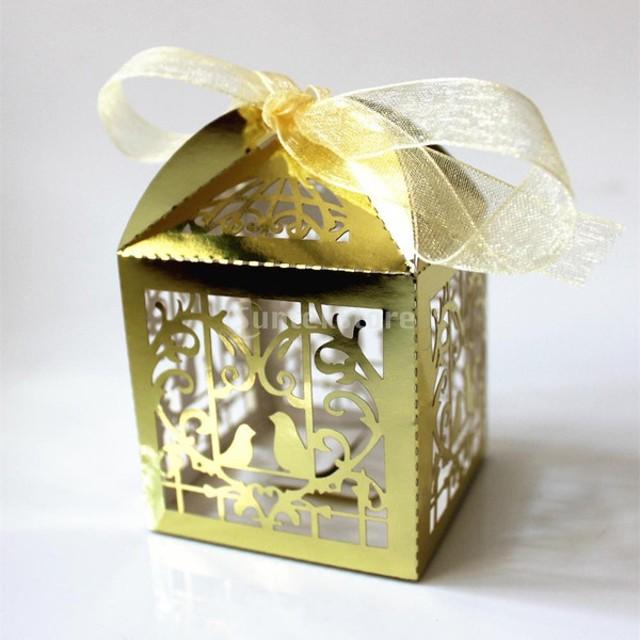 ノーブランド品 50pcs レーザーカット 鳥かご 結婚式のパーティー 好意のギフト リボン キャンディボックス バッグ