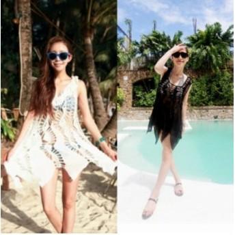 【3色】ボヘミアン クロシェ ニット 体型 カバー 人気 大人 夏 リゾート プール ビーチ アイテム