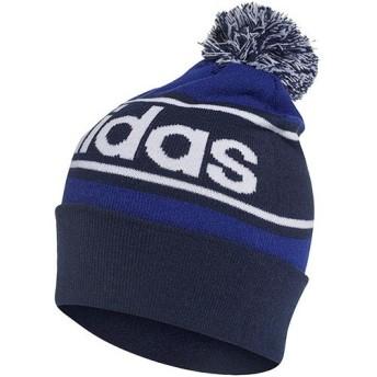 アディダス(adidas) リニアロゴ ボンボン ビーニー カレッジネイビー/ミステリーインクF17/ホワイト BQM68 DM1408 帽子 ニット帽 ニットキャップ メンズ