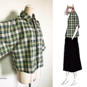 【1点もの・デザイン画付き】着物袖ゆったりチェックブラウス(KOJI TOYODA)