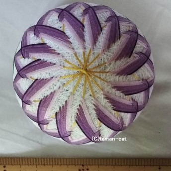 てまり「えぞ菊」白地紫 手まり 手毬 手鞠