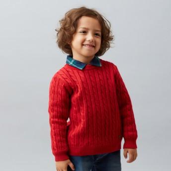 ミキハウス ケーブル編みニットセーター 赤