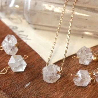 2点セット14kgf 天然石 ハーキマーダイアモンド ピアス ネックレス 誕生日 クリスマス プレゼント シンプル