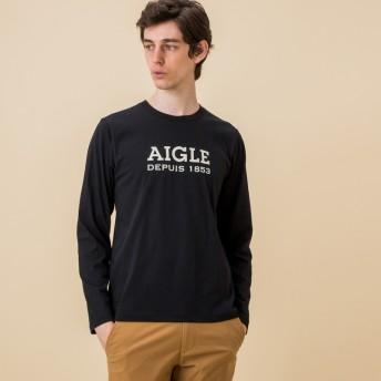 AIGLE メンズ メンズ 吸水速乾 銀イオン抗菌 ロゴプリン 長袖Tシャツ ZTH022J NOIR (005) Tシャツ