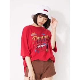 【5,000円以上お買物で送料無料】ロック風プリントビッグTシャツ