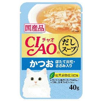 [16個セット]いなば CIAO だしスープ かつお ほたて貝柱・ささみ入り 40g×16