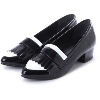 SFW リバティードール Liberty Doll おじ靴チャンキーヒールフリンジローファー/ 5577 (ブラックホワイト)