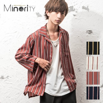 シャツ - MinoriTY オープンカラーシャツ メンズ ストライプ 7分袖 シャツ オープンカラー シャツ 開襟シャツ ストライプ柄 マルチストライプ 韓国ファッション メンズファッション モード系 ストリート系 マイノリティ minority