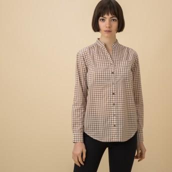 AIGLE レディース レディース 吸水速乾 スキッパーカラー ギンガムチェックシャツ ZCF020J PABBLE (035) シャツ・ポロシャツ