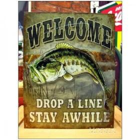 釣りグッズ・インテリア【アメリカンブリキ看板】竿を振ってしばらく待つだけ 品番:BS023