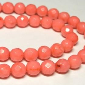 珊瑚(染色) 連販売 ピンク ラウンドカット 約7mm 3000680