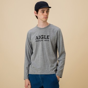 AIGLE メンズ メンズ 吸水速乾 銀イオン抗菌 ロゴプリン 長袖Tシャツ ZTH022J HEATHER GREY (104) Tシャツ