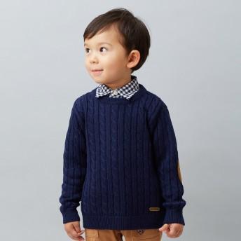 ミキハウス ケーブル編みニットセーター 紺