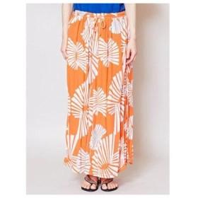 【チャイハネ】yul 箔プリントスパンコール刺繍ロングスカート オレンジ