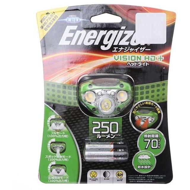 エナジャイザー ヘッドライト (HDL250GR) トレッキング : グリーン