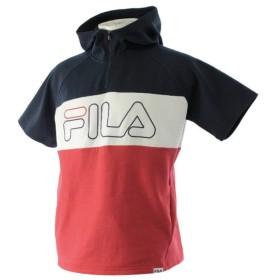 フィラ メンズ ハーフジップ 半袖スウェットパーカー (FL-9C10208TJHZH) : ネイビー×レッド FILA