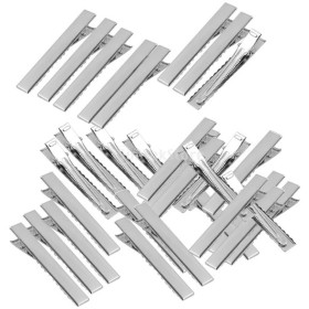 約50個 金属製 髪クリップ 実用 フラット シングル 全6サイズ  - 76mm