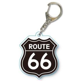 メール便可・アクリルキーホルダー Route 66/B (ルート66 キーホルダー)