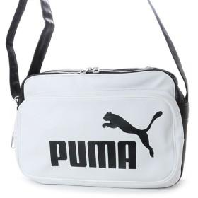 プーマ トレーニング PU ショルダー M (075370) エナメルバッグ : ホワイト×ブラック PUMA
