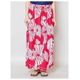 【チャイハネ】yul 箔プリントスパンコール刺繍ロングスカート ピンク