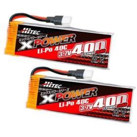 【ネコポス対応】ハイテック(HiTEC)/XP480166W/XPOWER[エックスパワー]Li-Po 3.7V 400mAh 40C ツインパック(BL)