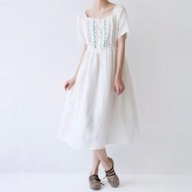 【M】刺繍入りリネン100%大人可愛い半袖ワンピース♪