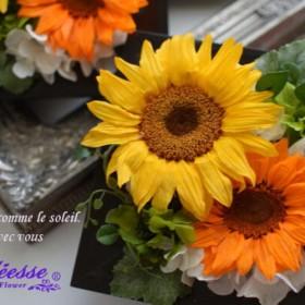 【送料無料】再販 元気になれる大輪の向日葵 プリザーブドフラワーアレンジ_即納可能